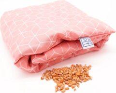 Pittenzak XL Met Pit! – Extra lang - Wasbare hoes - Zachte/geurloos tarwe - Voor koude voeten of verlichting van pijn - Made in NL – Oud Roze grafisch