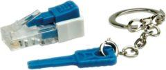 Blauwe ROLINE Lockable RJ45 Plug with Key netwerkkabel Transparant