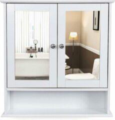 Acaza Badkamerkastje met Twee Spiegels als Deuren - Inclusief Open Plankje - 56x13x58cm - Wit