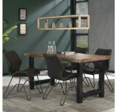 Bruine Livin24 Industriële eetkamertafel Timber acaciahout 165x85