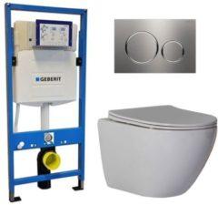 Douche Concurrent Geberit UP 320 Toiletsets - Inbouw WC Hangtoilet Wandcloset - Shorty Flatline Sigma-20 RVS Geborsteld