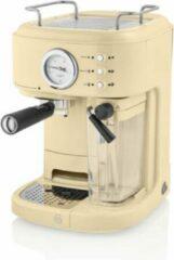 Creme witte Swan One Touch Espressomachine – Gemalen Koffie & Koffiepads – Creme