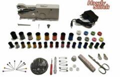 Zwarte Handy Switch Handy Stitch - PREMIUM Handnaaimachine met Adapter en 92 Delige Starteskit - Compact - Draagbare reis naaimachine - Incl. 34 Spoelen garen - Elektrisch of op Batterijen