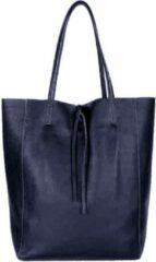 Giuliano Leren Shopper Donkerblauw - Made in Italy