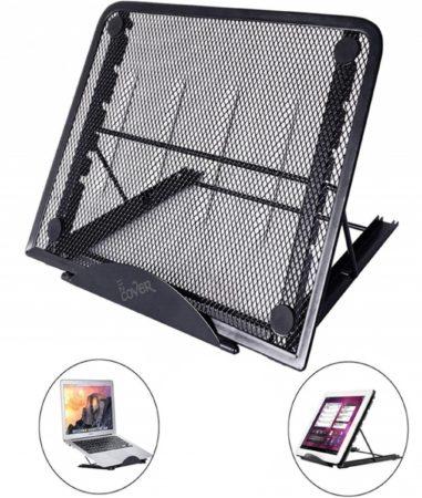 Afbeelding van Laptop en Tablet standaard, verstelbaar en inklapbaar, 13.3 Inch - Bureau Tafel Houder Staander (o.a. 11 / 11.6 / 12 / 13 / 13.3 / 14 inch laptop / macbook / notebook), zwart , merk i12Cover