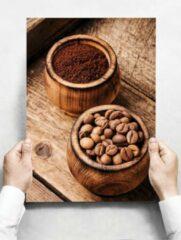 Witte Creatief Art Wandbord: Koffiebonen in houten kommetjes - 30 x 42 cm