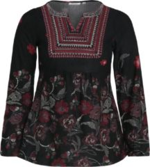 Bordeauxrode Paprika top met all over print en plooien bordeaux