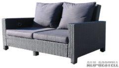 Rattan Lounge Sofa 200cm Couch Futon Couchgarnitur Schwarz Famous Home Schwarz