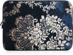 Zandkleurige Laptop sleeve tot 13 inch met barok print – Zwart/Zandkleur