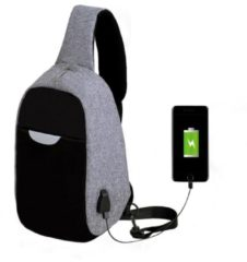 Meco Men External USB Charging Multi-Function Sling Bag Water Repellent Anti Theft Bag for Ipad