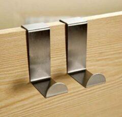 Zilveren VHR RVS deurhaak - Kapstok - Ophanghaak - Over de deur - Handoek haak - Badkamer haak - Keuken haak - Set van 2