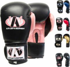 Ali's fightgear bokshandschoenen dames bt go zwart met roze - 16 oz - L