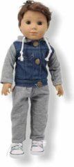 Grijze Isa's Friends Poppenkleding jongen - Baby Born kleertjes o.a. - Poppenkleertjes 43 cm - Vest met broekje - Gratis verzending