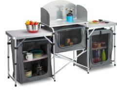 Grijze Relaxdays campingkeuken inklapbaar - campingkast - buitenkeuken - aluminium frame - keuken