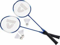 Donnay badmintonset blauw met rackets shuttles en opbergtas 67 cm - voordelige badminton set