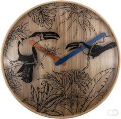 Bruine NeXtime Tropical Birds - klok - Rond - Hout en Glas - Stil uurwerk - Ø 40 cm - Multi color