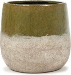 Serax Bloempot Dip Groen-Beige L 21.5 cm B 21,5 cm H 20.5 cm