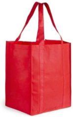 Merkloos / Sans marque Boodschappen tas/shopper rood 38 cm - Stevige boodschappentassen/shopper bag