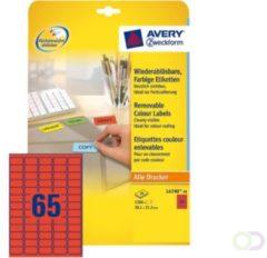 Laseretiket Avery 38,1x21,2mm 20 vel 65 etiketten per vel rood