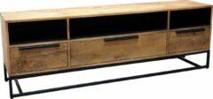 Bruine Moods Collection Borneo tv meubel 180 cm naturel en zwart mango