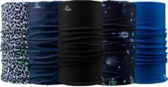 Blauwe Necky Protect 5-pack Bandana | Mondmasker | Sjaal | Nekwarmer | Multifunctionele hoofdbescherming | Cadeau| Fiets | Sport | Wintersport | Watersport | Outdoor | Scooter