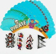 ProductGoods - 12 Stuks Piraten Mini Cupcake Bakjes + 12 Cupcake Piraten Versiering - Kinderen - Kinderfeestje - Party - Taart Decoraties - Verjaardag Decoratie - Happy Birthday - Piraten - Omslagen - Omslag - mini cupcake vormpjes