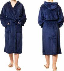 Marineblauwe Sorprese badjas – Teddy Microfleece – Donkerblauw – badjas dames – maat L/XL – met capuchon