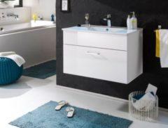 Waschbeckenunterschrank mit Becken weiss hochglanz/ weiss Bega Splash