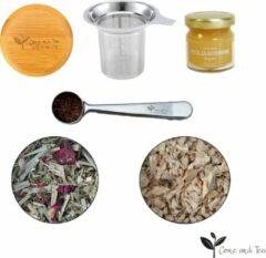 Roestvrijstalen Come and Tea Gezondheidspakket - 1 x 75 gram & 1 x 60 gram kwaliteit thee + luxe zeef + maatlepel + Nederlandse bloemen honing - Thee pakket - Losse thee - Verse thee
