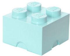 Lichtblauwe Lego Opbergbox Brick 4 - 25 cm x 25 cm x 18 cm - Lichtblauw
