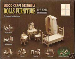 Bruine Speelgoed poppenhuis slaapkamer meubels bouwpakket - Houten bouwpakketten