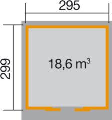Blokhut Linda Gr. 2 315 x 335cm lichtgrijs/wit