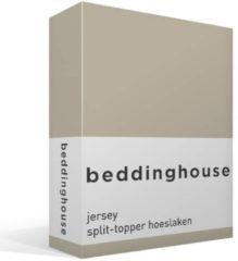 Gele Beddinghouse Jersey Split-topper Hoeslaken - 100% Gebreide Jersey Katoen - Lits-jumeaux (160x200/220 Cm) - Sand