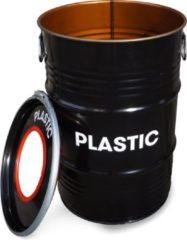 Rode BinBin Hole Plastic- industriële metalen prullenbak 60 Liter- Olievat afvalscheidingsprullenbak voor plastic afval