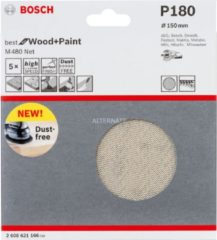 Bosch Schleifblatt M480 Net, Best for Wood and Paint, 150 mm, 180, 5er-Pack VPE: 5