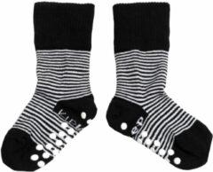 KipKep Blijf-Sokjes met antislip zool - Maat 12-18 mnd - Zwart-wit gestreept, 1 paar