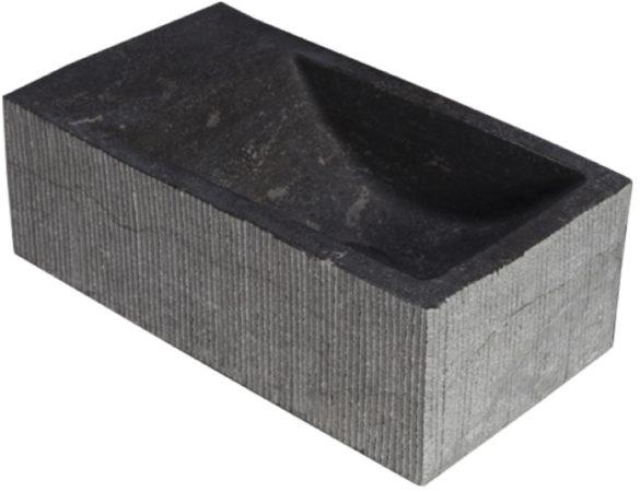 Afbeelding van Antraciet-grijze Forzalaqua Kalmar XS Hardsteen Gefrijnd Zonder Kraangat Links 29X16X10 cm