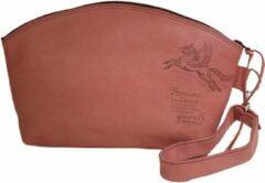 Toetie & Zo Handgemaakte Toilettas Leer Roze - Clutch - Make-uptas - Met Handvat - Leder