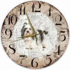 Bruine Creatief Art Houten Klok - 30cm - Hond - Shih Tzu