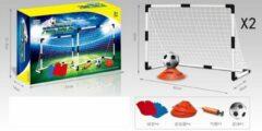 Witte De Max Set voetbaldoelen met hesjes, potjes en bal | 2st kinder voetbalgoalen