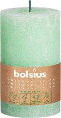Groene Bio Kaars - Bolsius Rustiek Stompkaars - Divine Earth Water - 130/68mm - 2 stuks