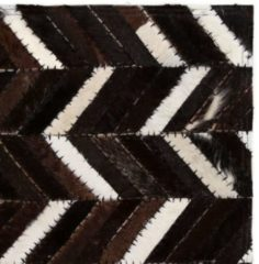 VidaXL Vloerkleed chevron patchwork 80x150 cm echt leer zwart/wit