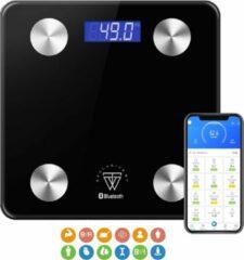 Exclusive by TW Smart Scale Met Volledige Lichaamsanalyse - Slimme Weegschaal met App - Zwart