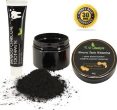 Oranje ECO Lifestyle® Tandenblekers | Charcoal Powder & Pasta | Veilig en zonder Peroxide | Thuis Tanden Bleken | Witte Tanden | 5-9 Tinten Wittere Tanden | Tanden Bleken (Orange)