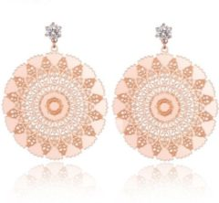 Roze Cilla Jewels Damesoorbellen met Bloem en Zirkonia Rose