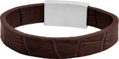 Donkerbruine Frank 1967 Leather 7FB 0346 Heren Armband - Echt leer - Donker bruin / Zilverkleurig