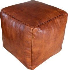 Bruine Poufs&Pillows Vierkante leren XL poef - Honey Cognac - Handgemaakt en stijlvol - Gevuld geleverd