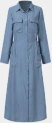 Blauwe ZANZEA Ethnic Pocket Button Lapel Maxi Dress