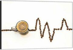 Bruine KuijsFotoprint Dibond –Koffie met Koffiebonen– 60x40 Foto op Aluminium (Wanddecoratie van metaal)