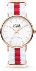 CO88 Collection Watches 8CW 10028 Horloge - Nato Band - Ø 36 mm - Wit / Rood